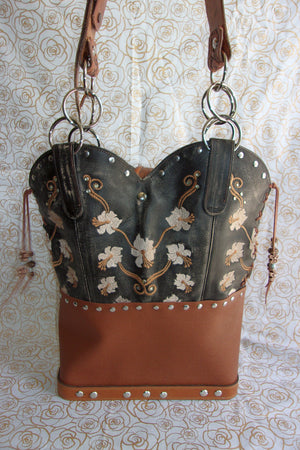 back of ts277 black and brown floral pattern unique leather hair on hide purse handcrafted from recycled reclaimed cowboy boots