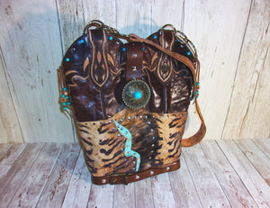 Zebra Leather Western Shoulder Bag TS279