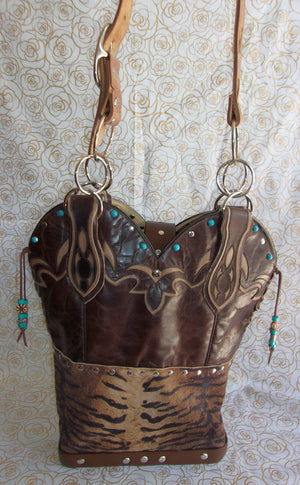 back of ts279 turquoise zebra western unique leather hair on hide purse handcrafted from recycled reclaimed cowboy boots