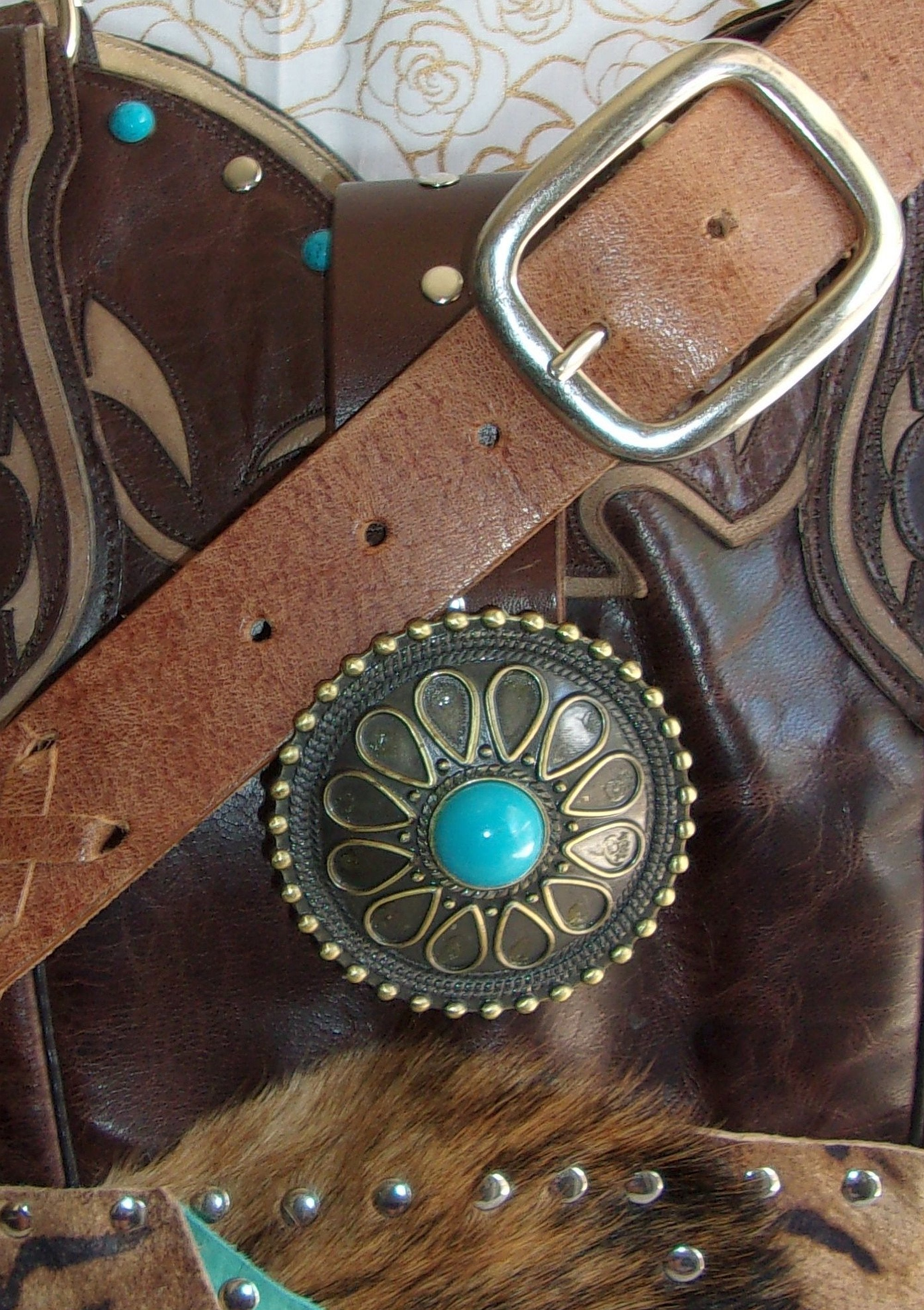 close up ts279 turquoise zebra western unique leather hair on hide purse handcrafted from recycled reclaimed cowboy boots
