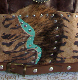 close view ts279 turquoise zebra western unique leather hair on hide purse handcrafted from recycled reclaimed cowboy boots