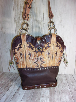 Handmade Leather Purse - Cowboy Boot Purse - Western Leather Purse TS281