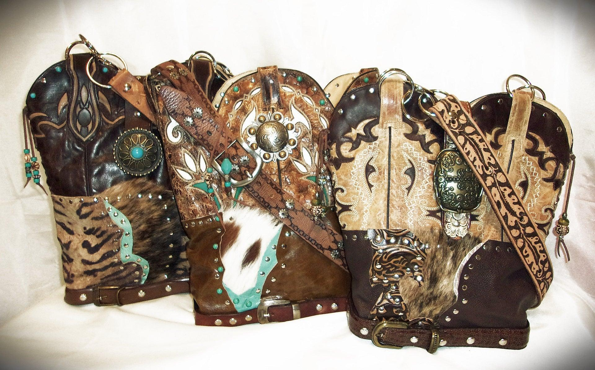 Wine Longhorn Shoulder Bag TS267 - Cowboy Boot Purses by Chris Thompson for Distinctive Western Fashion