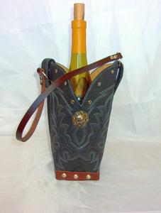 WT313 Cowboy Boot Leather Wine Tote - Cowboy Boot Purses by Chris Thompson for Distinctive Western Fashion