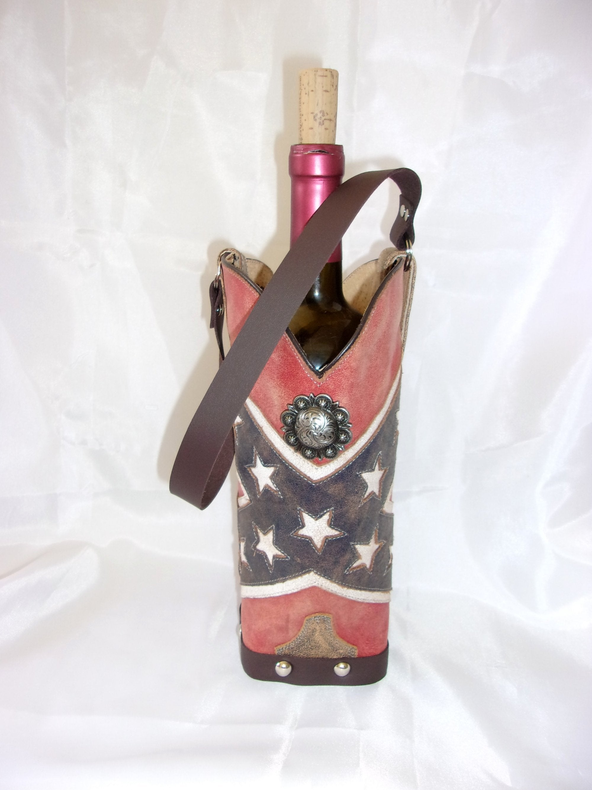 WT390 Cowboy Boot Leather Wine Tote - Cowboy Boot Purses by Chris Thompson for Distinctive Western Fashion
