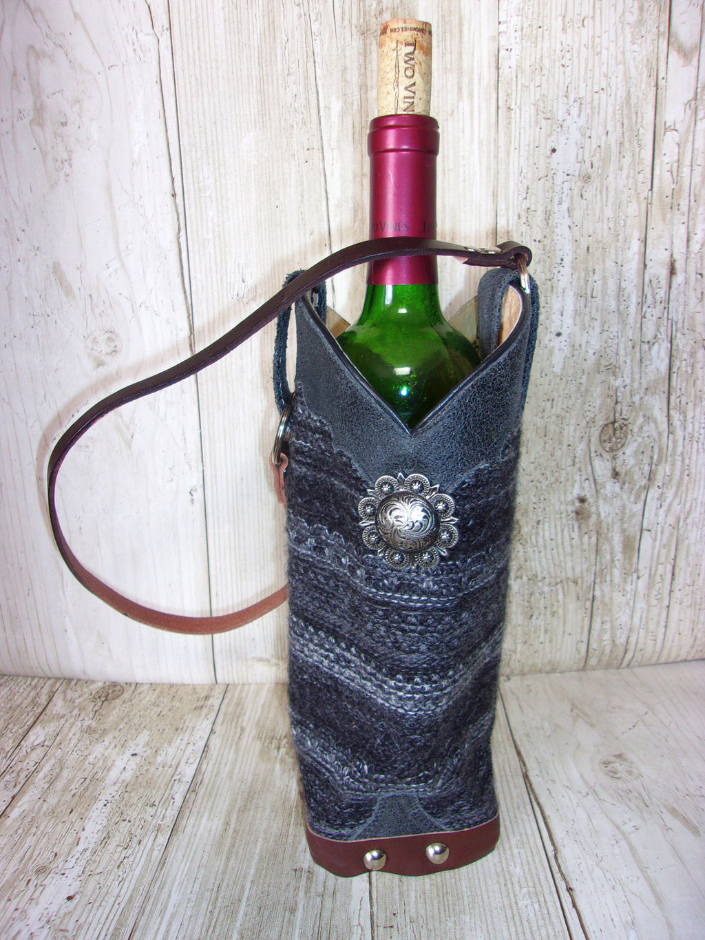 wt435 unique Leather Wine Tote handcrafted from recycled reclaimed cowboy boots