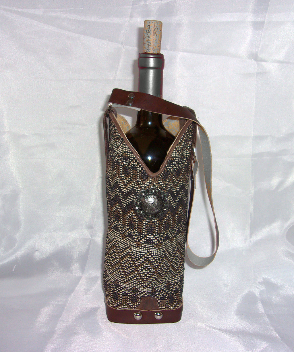 wt447 unique Leather Wine Tote handcrafted from recycled reclaimed cowboy boots