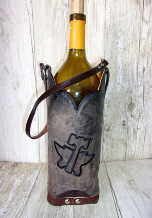 WT482 Cowboy Boot Leather Wine Tote - Cowboy Boot Purses by Chris Thompson for Distinctive Western Fashion