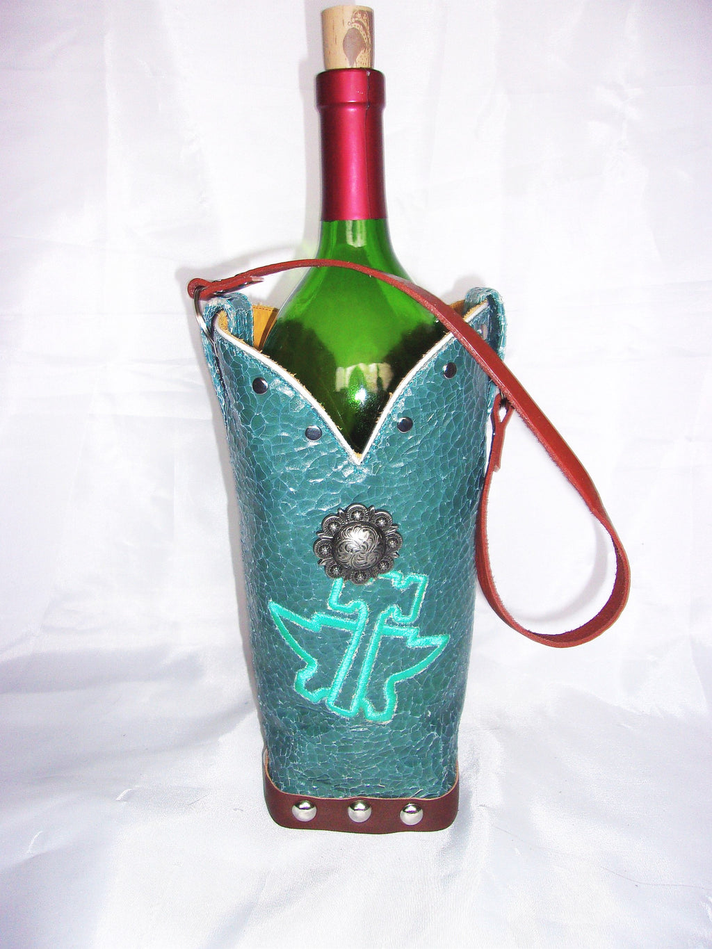 WT511  Wine Tote Bag - Leather Wine Carrier - Wine Lovers Gift – Leather Wine Bag cowboy boot purses, western fringe purse, handmade leather purses, boot purse, handmade western purse, custom leather handbags Chris Thompson Bags