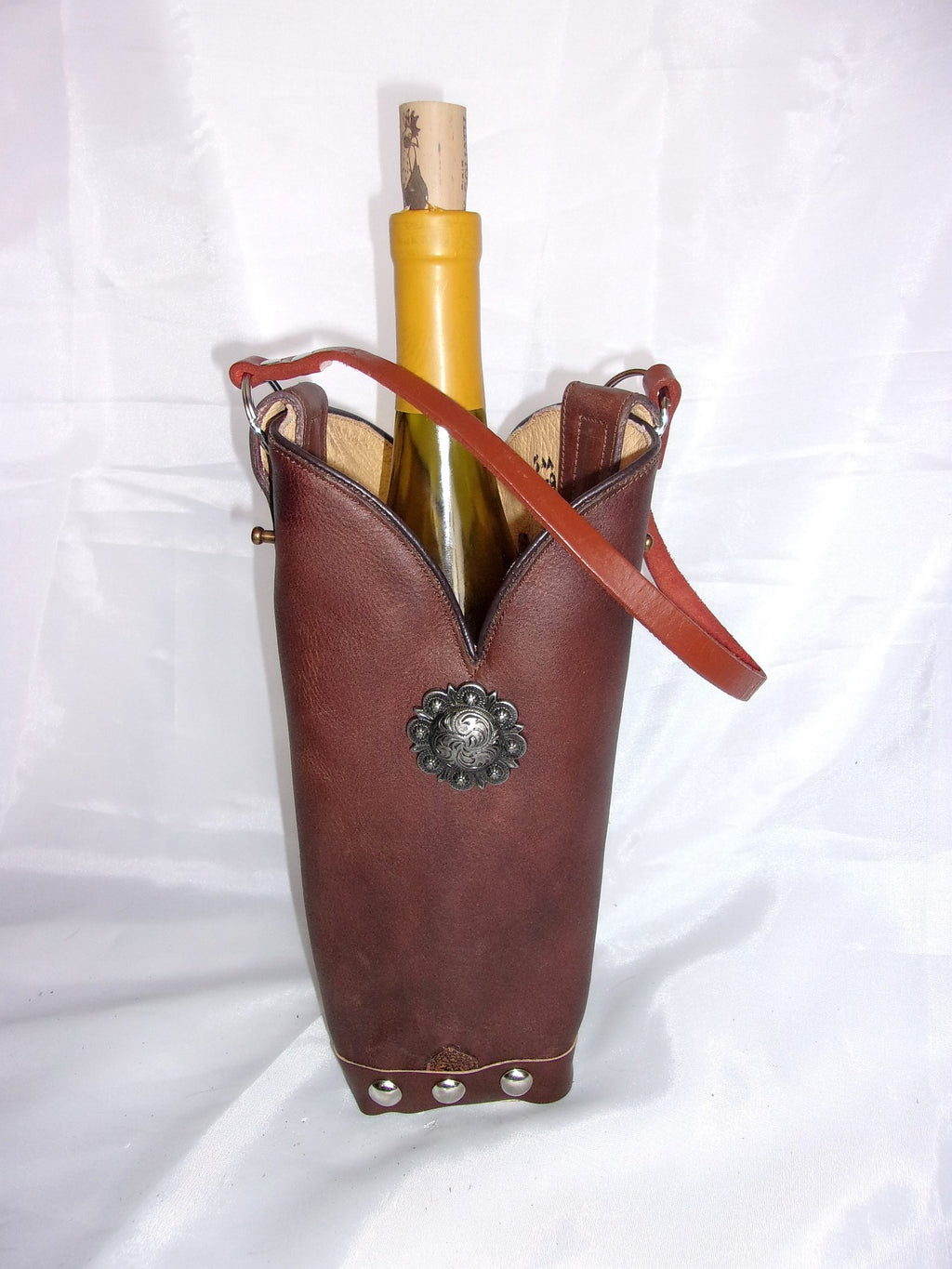 WT539 Cowboy Boot Leather Wine Tote - Unique Leather Handbags and Totes by Chris Thompson