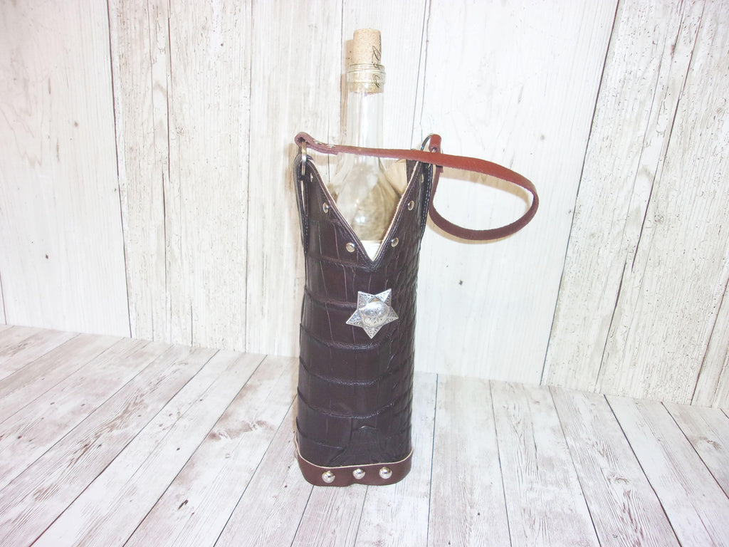 Wine Tote Bag - Leather Wine Carrier - Wine Lovers Gift – Leather Wine Bag WT557