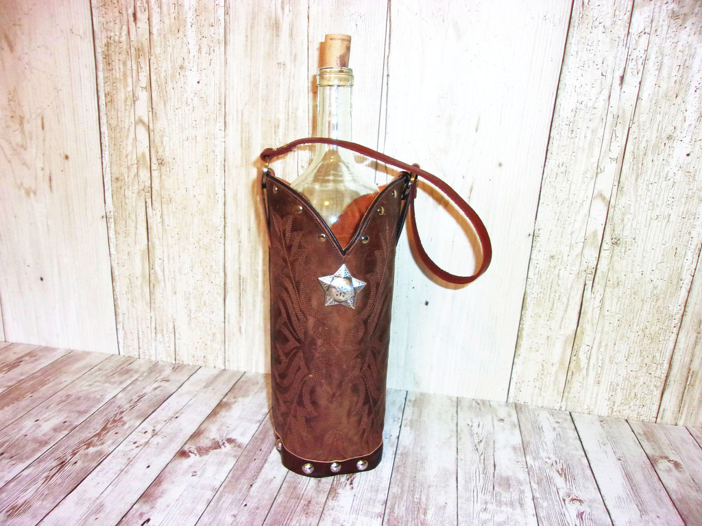 Wine Tote Bag - Leather Wine Carrier - Wine Lovers Gift – Leather Wine Bag WT567