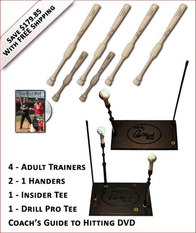 4 Trainers, 2 - 1 Handers, Insider Tee, Pro Drill Tee & Coach's Guide to Hitting DVD