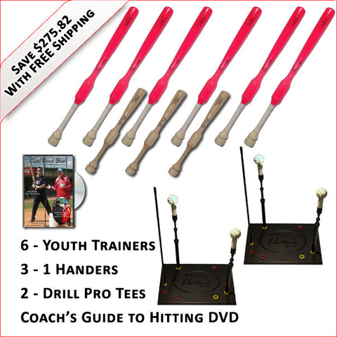 6 Softball Trainers, 3 - 1 Handers, 2 Drill Pro Tees & Coach's Guide to Hitting DVD