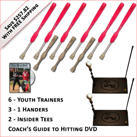 6 Softball Trainers, 3 - 1 Handers, 2 Insider Tees & Coach's Guide to Hitting DVD