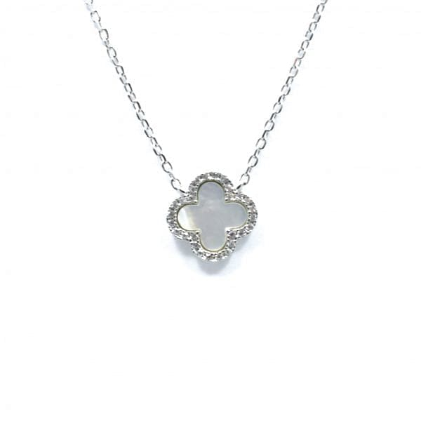 Pearl Clover Necklace - Silver
