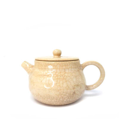 Ivory Yellow Wood-fired Teapot