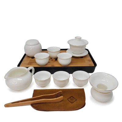 Ceremonial Gongfu Travel Tea Set - White with Gaiwan Media 1 of 2