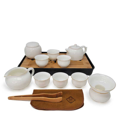 Complete Ceremonial Gongfu Travel Tea Set - White with teapot