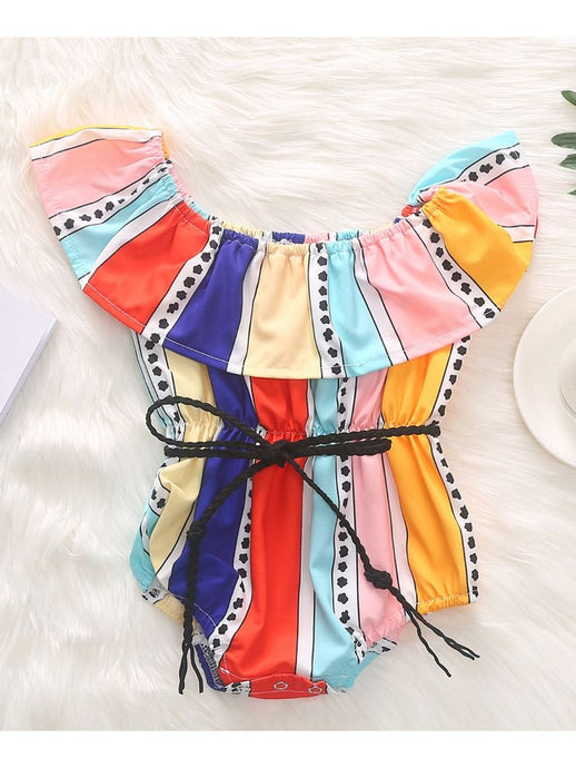 Baby Girl Color Block Romper