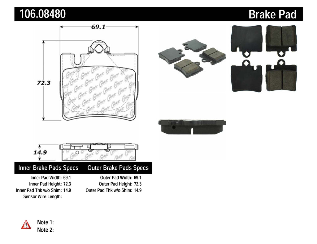 PosiQuiet Extended Wear 00-02 Mercedes S430/S500/CL500 / 01-02 S600/S55 AMG/CL600 Rear Brake Pads