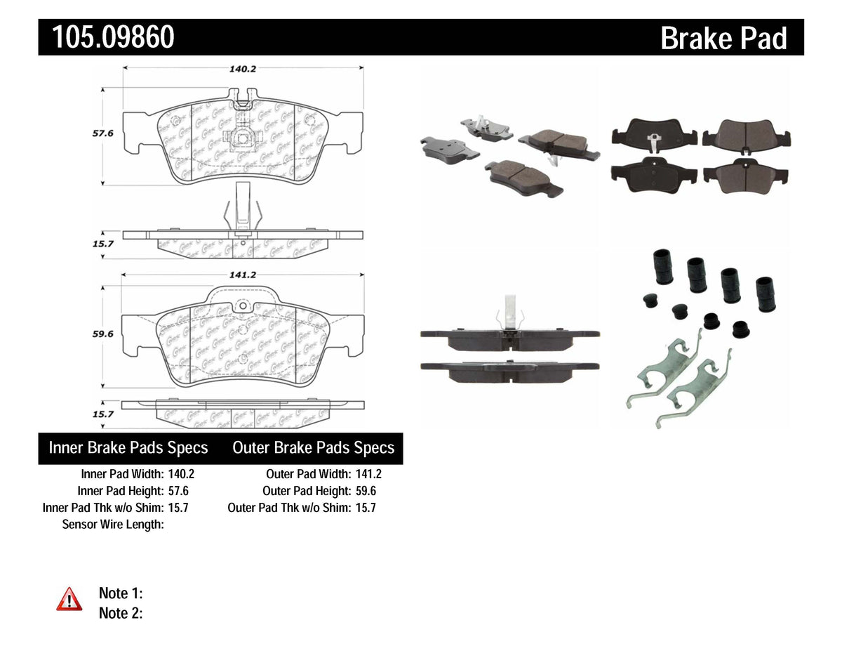 PosiQuiet Mercedes Benz Rear Ceramic Brake Pads w/ Shims