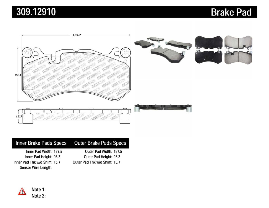 StopTech Mercedes Benz Front Performance Brake Pads