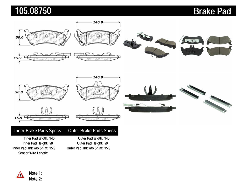 Centric 98-05 Mercedes Benz ML320/ML320 CDI/ML350 (W163/W164) Rear PosiQuiet Ceramic Brake Pads