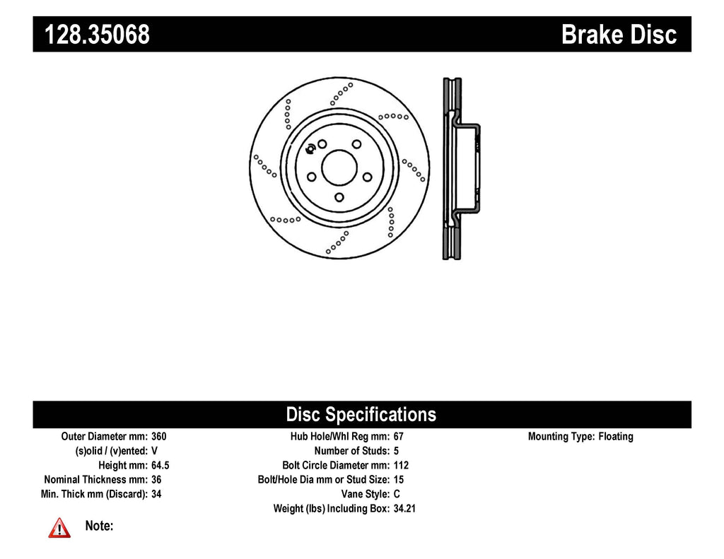 Centric Mercedes SL600/CLS55/CLS63/E55/E63/SL55/SL63/SL65 Front Drilled OE Design Brake Rotors
