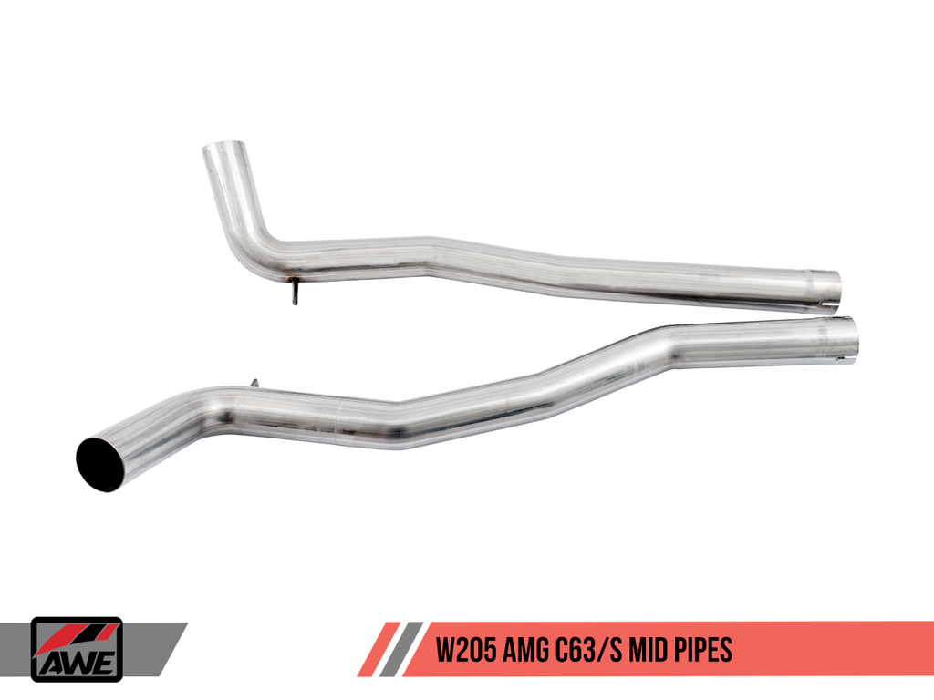 AWE Machined Exhaust Tips for Mercedes-Benz AMG C63 - Chrome Silver