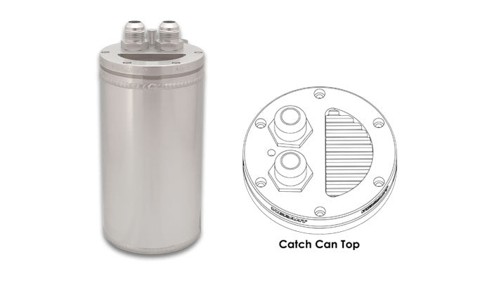 Vibrant 4in OD Universal Catch Can 2.0 w/ Integrated Filter Aluminum - Anodized Silver