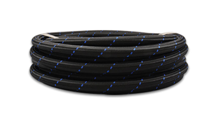 Vibrant -12 AN Two-Tone Black/Blue Nylon Braided Flex Hose (5 foot roll)