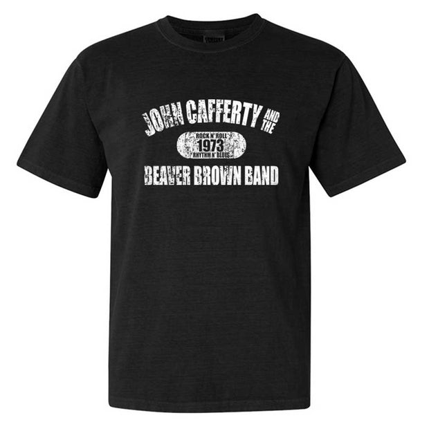 JOHN CAFFERTY Distressed White Logo T-Shirt