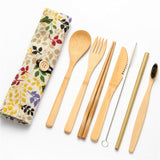 Bamboo Cutlery Travel Set | Floral