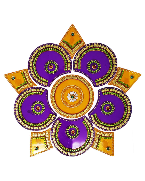 Circle Five Corner Rangoli Design (artificial Rangoli reusable) - Spice Divine