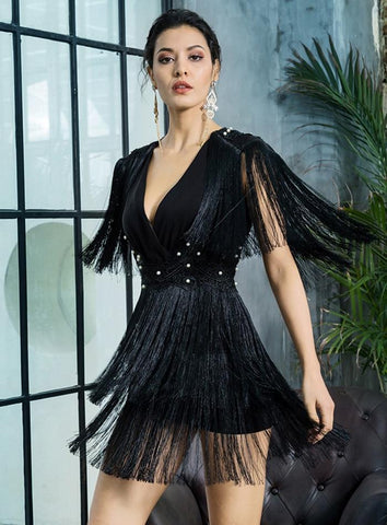 robe de cocktail courte a frange