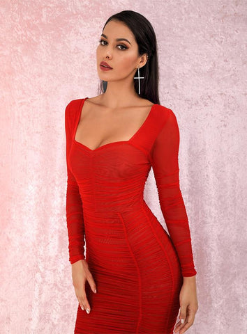 robe de cocktail longue rouge