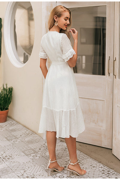 Robe Cocktail Col V Blanche