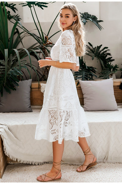 Robe Cocktail Longue Blanche
