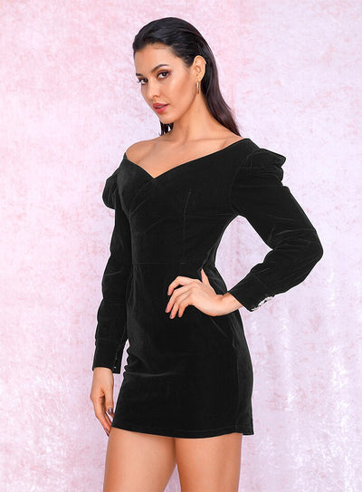 Robe Cocktail Velours Noire