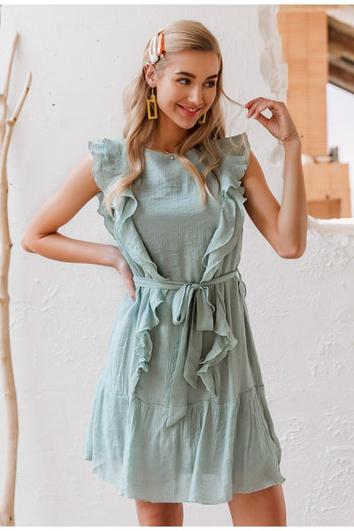 Robe Cocktail Mousseline Bleu Gris