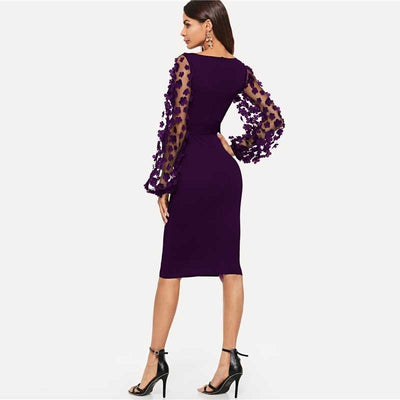 Robe Cocktail Longue Prune