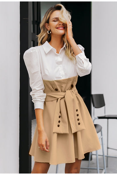 Robe Cocktail Beige et Blanche