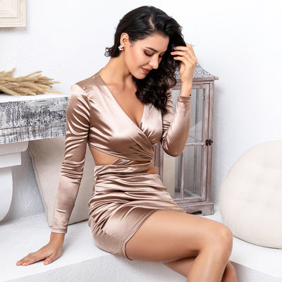 Robe Cocktail Courte Champagne
