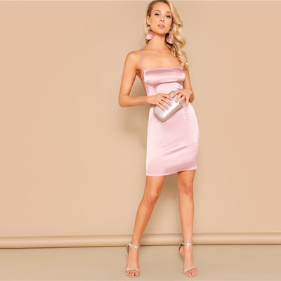 Robe Cocktail Femme Rose Pâle