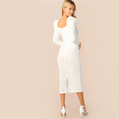 Robe Cocktail Blanche Mi Longue