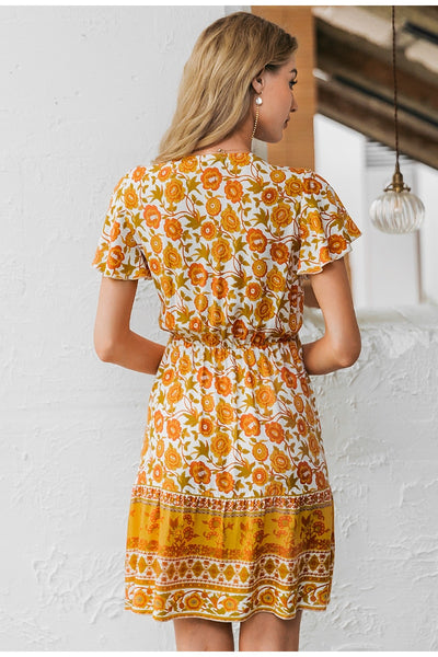 Robe Cocktail Courte Orange