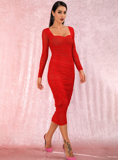 Robe Cocktail Rouge Longue