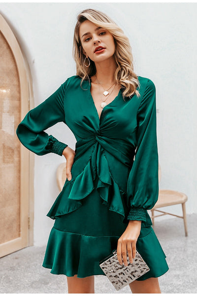 Robe Cocktail Mousseline Verte