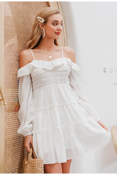Robe Cocktail Blanche Manches Longues